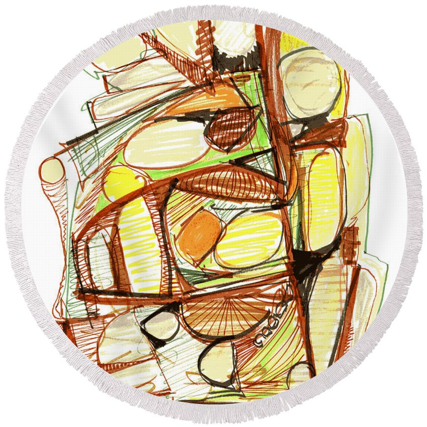 Abstract Round Beach Towel featuring the drawing Abstract Pen Drawing Sixty-three by Lynne Taetzsch