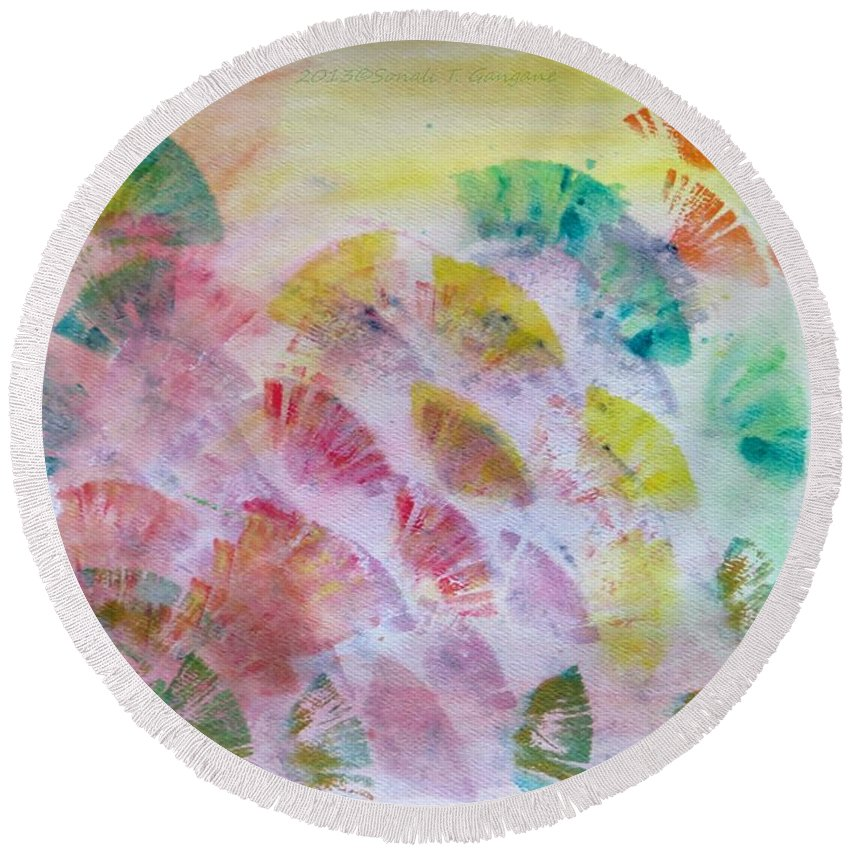 Coloured Petals Round Beach Towel featuring the painting Abstract Petals by Sonali Gangane