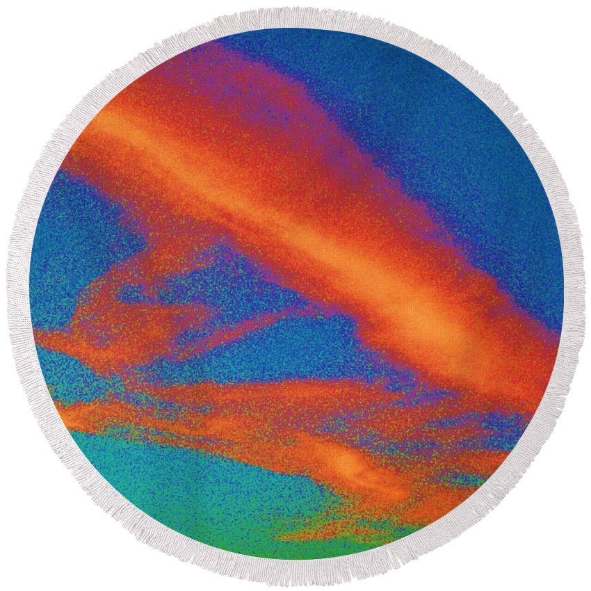 Abstract Round Beach Towel featuring the photograph Abstract Red Blue And Green Sky by Eric Schiabor