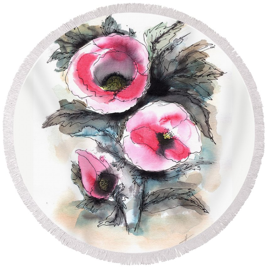 Watercolor Flowers Round Beach Towel featuring the painting Abstract Red Poppies by Aniko Hencz