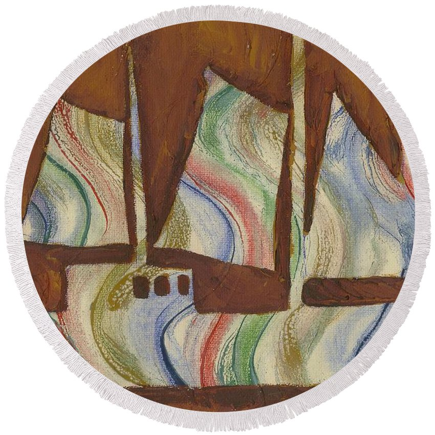 Sail Round Beach Towel featuring the painting Abstract Sailboat by Katie Sasser