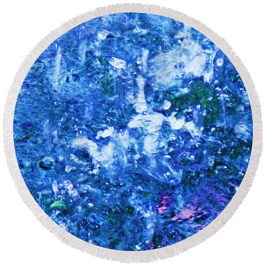 Abstract Round Beach Towel featuring the photograph Abstract Splashing Water by Eric Schiabor