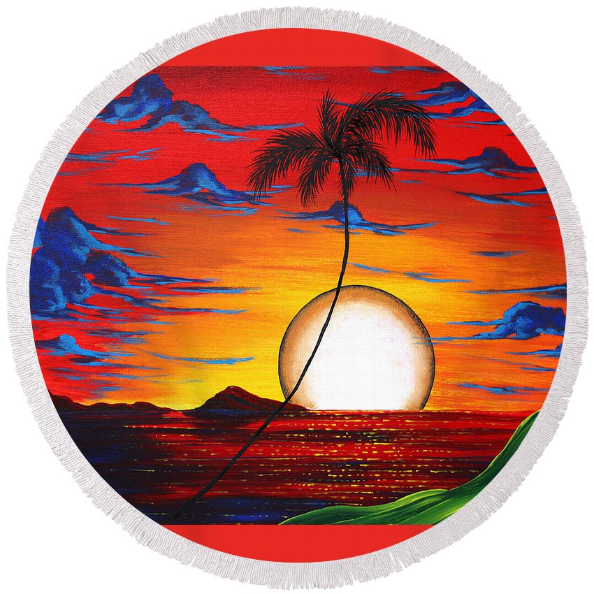 Abstract Round Beach Towel featuring the painting Abstract Surreal Tropical Coastal Art Original Painting Tropical Resonance By Madart by Megan Duncanson