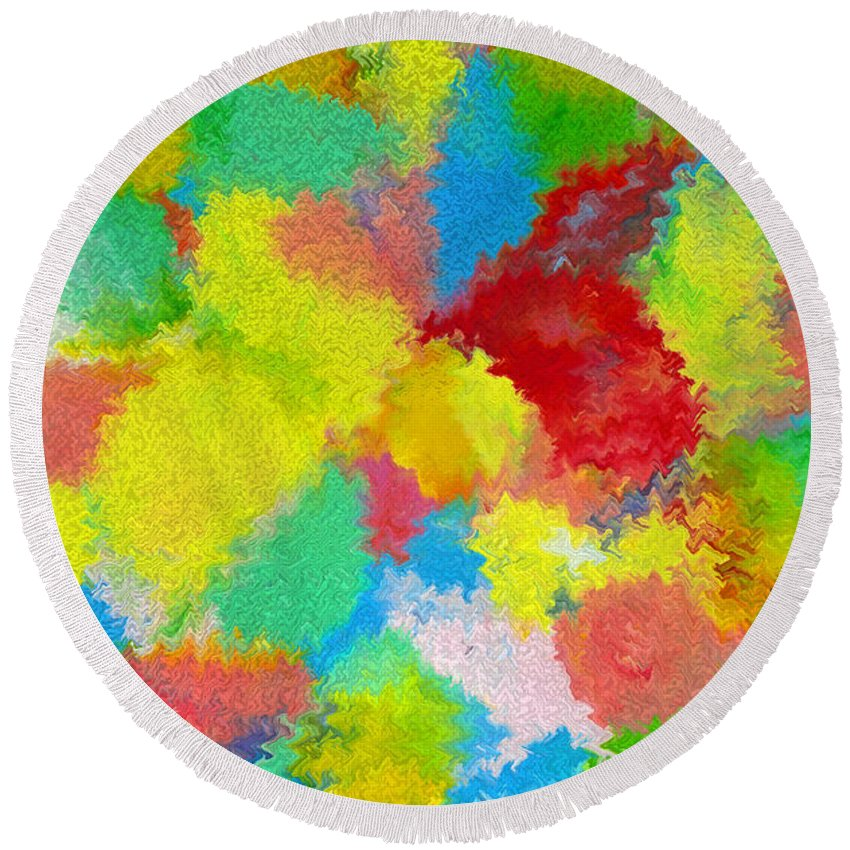 Abstract Round Beach Towel featuring the digital art Abstract Twenty Of Twenty One by Carl Deaville