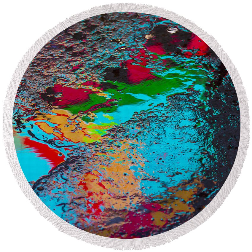 Pavement Round Beach Towel featuring the photograph Abstract Wet Pavement by Garry Gay