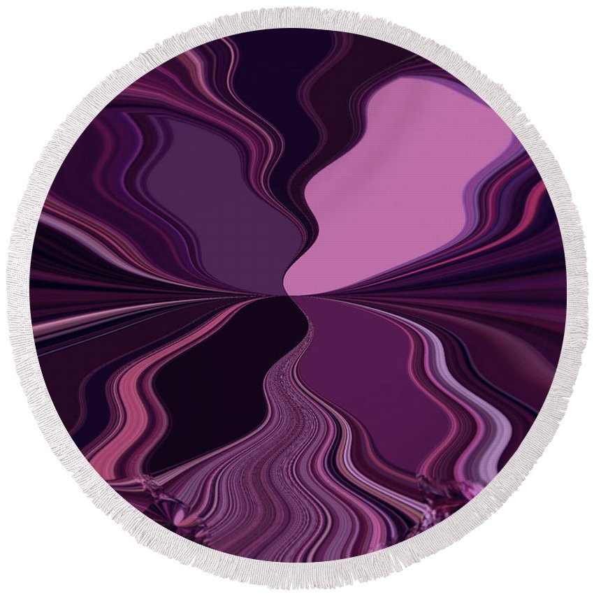 Abstract Round Beach Towel featuring the digital art Abstract Wings In Plum by Absinthe Art By Michelle LeAnn Scott