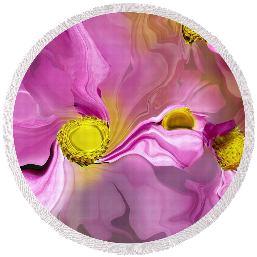 #floral Round Beach Towel featuring the photograph Abstracted Pink by Debbie Nobile