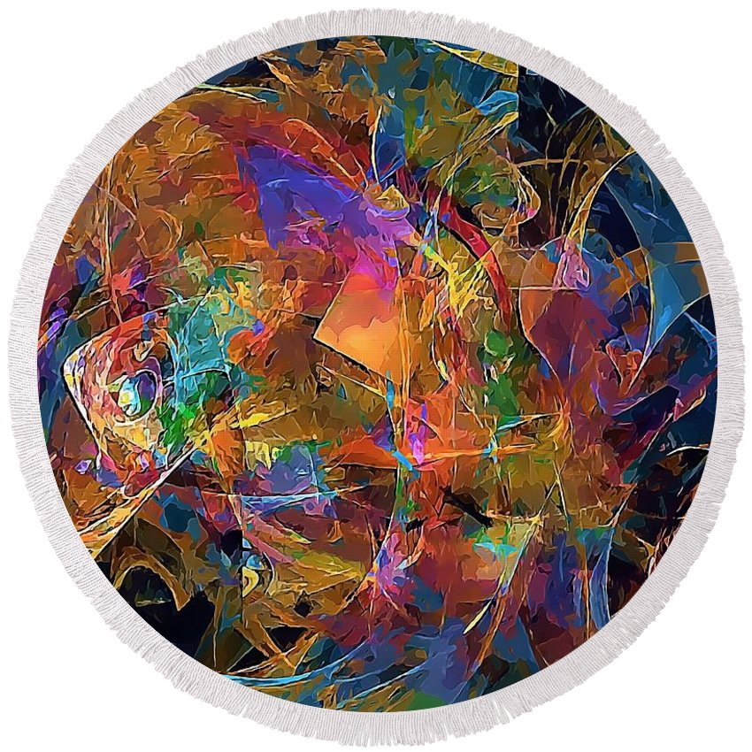 Graphics Round Beach Towel featuring the digital art Abstraction 0357 Marucii by Marek Lutek