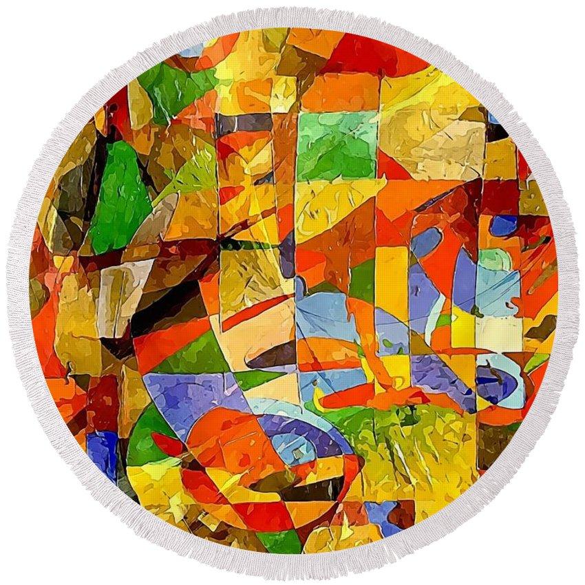 Graphics Round Beach Towel featuring the digital art Abstraction 0368 Marucii by Marek Lutek
