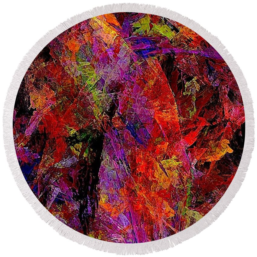 Graphics Round Beach Towel featuring the painting Abstraction 0383 - Marucii by Marek Lutek