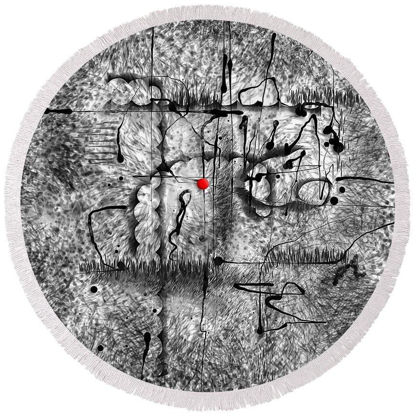 Graphics Round Beach Towel featuring the digital art Abstraction 0416 Marucii by Marek Lutek