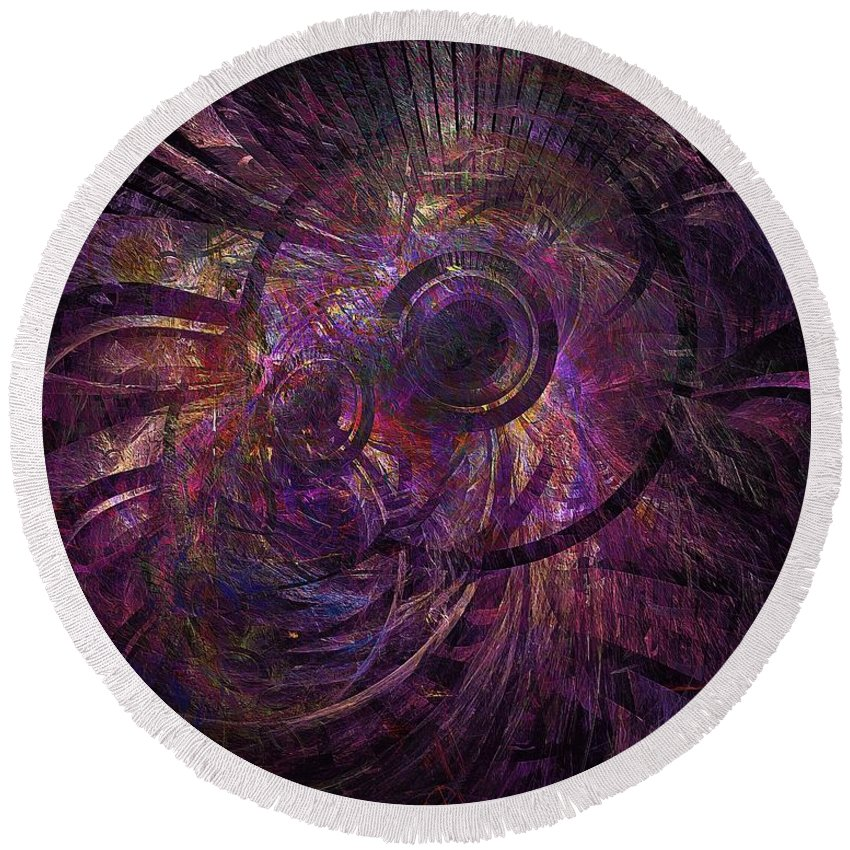 Abstract Round Beach Towel featuring the digital art Abstraction 426-08-13 Marucii by Marek Lutek
