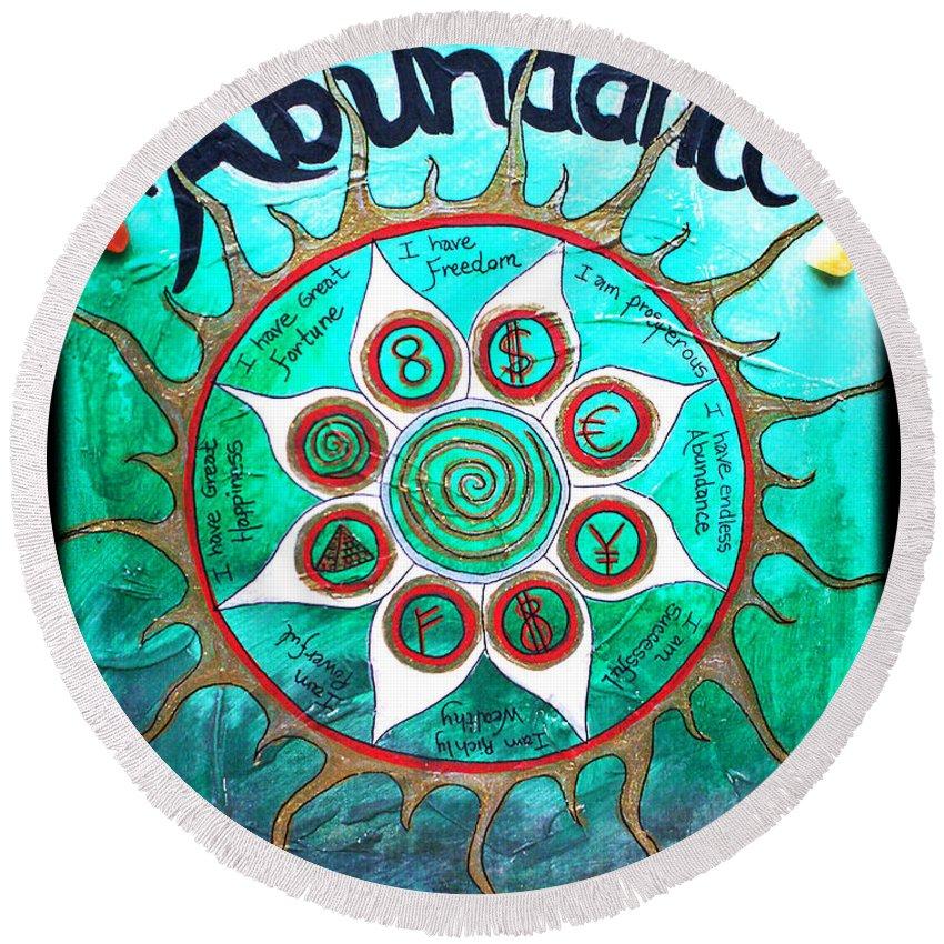 Abundance Round Beach Towel featuring the painting Abundance Money Magnet - Healing Art by Absinthe Art By Michelle LeAnn Scott