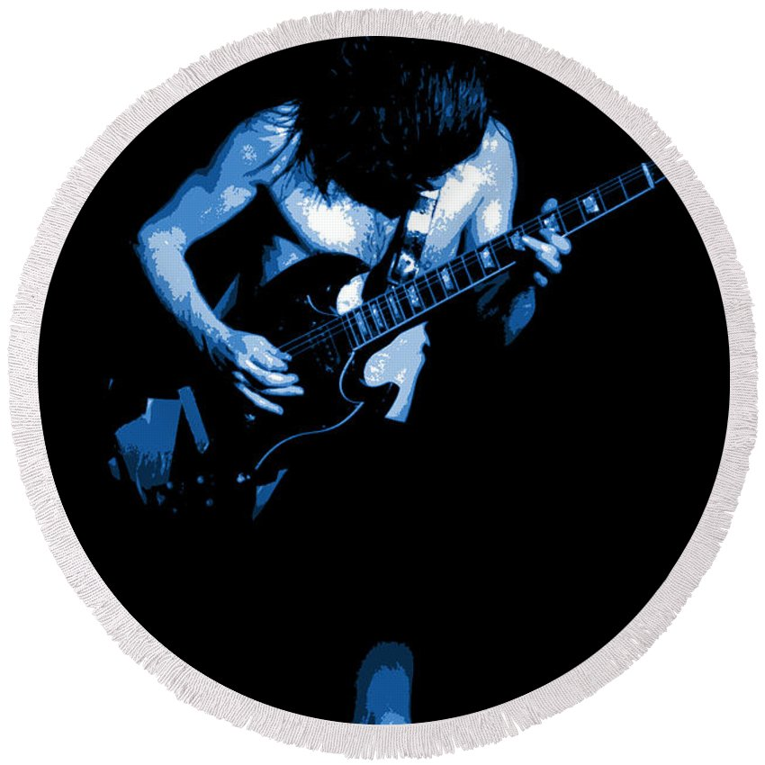 Ac Dc Round Beach Towel featuring the photograph Ac Dc #35 In Blue by Ben Upham