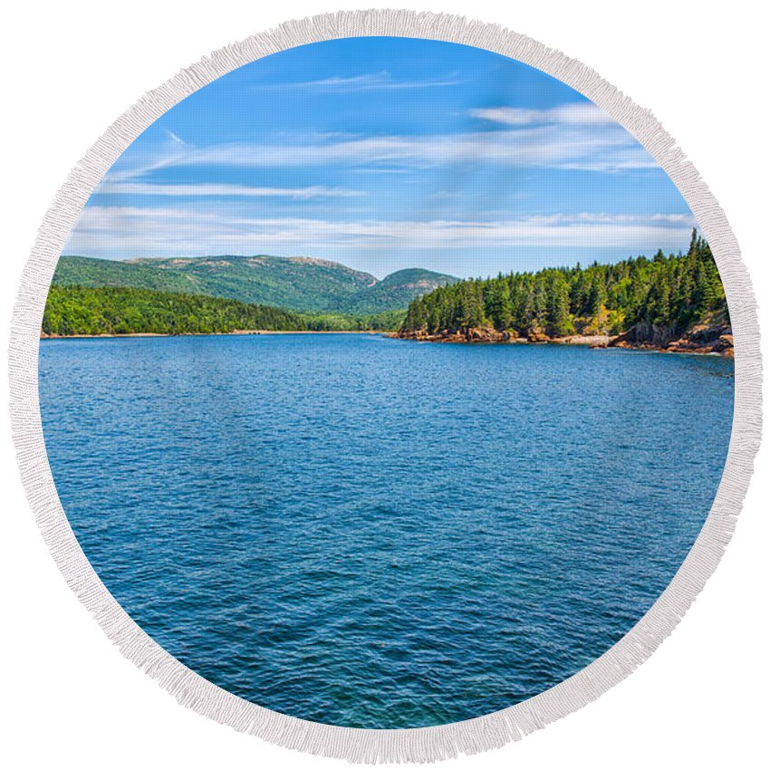 Landscape Round Beach Towel featuring the photograph Acadia Beauty by John M Bailey