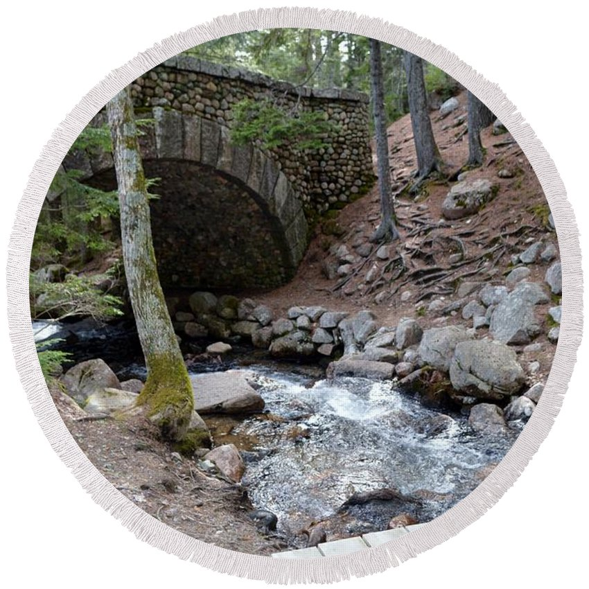 Jordan Pond Round Beach Towel featuring the photograph Acadia National Park Carriage Road Bridge by Lena Hatch