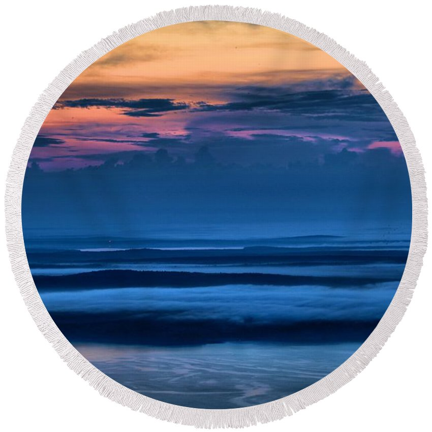 Acadia National Park Round Beach Towel featuring the photograph Acadia Sunrise by Adam Jewell