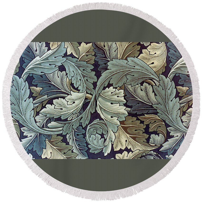 William Round Beach Towel featuring the tapestry - textile Acanthus Leaf Design by William Morris