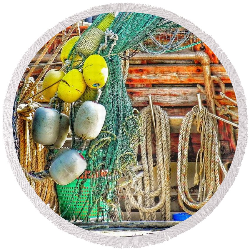 Shrimp Boat Round Beach Towel featuring the photograph Accessories To Shrimp Catching by Patricia Greer