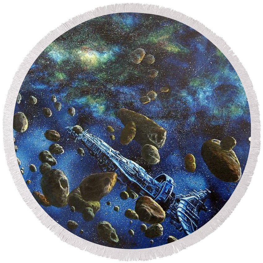 Canvas Round Beach Towel featuring the painting Accidental Asteroid by Murphy Elliott