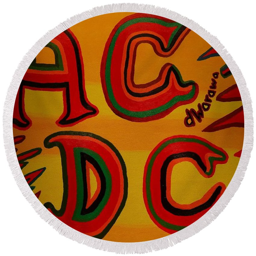 Music Round Beach Towel featuring the painting Acdc by Douglas W Warawa