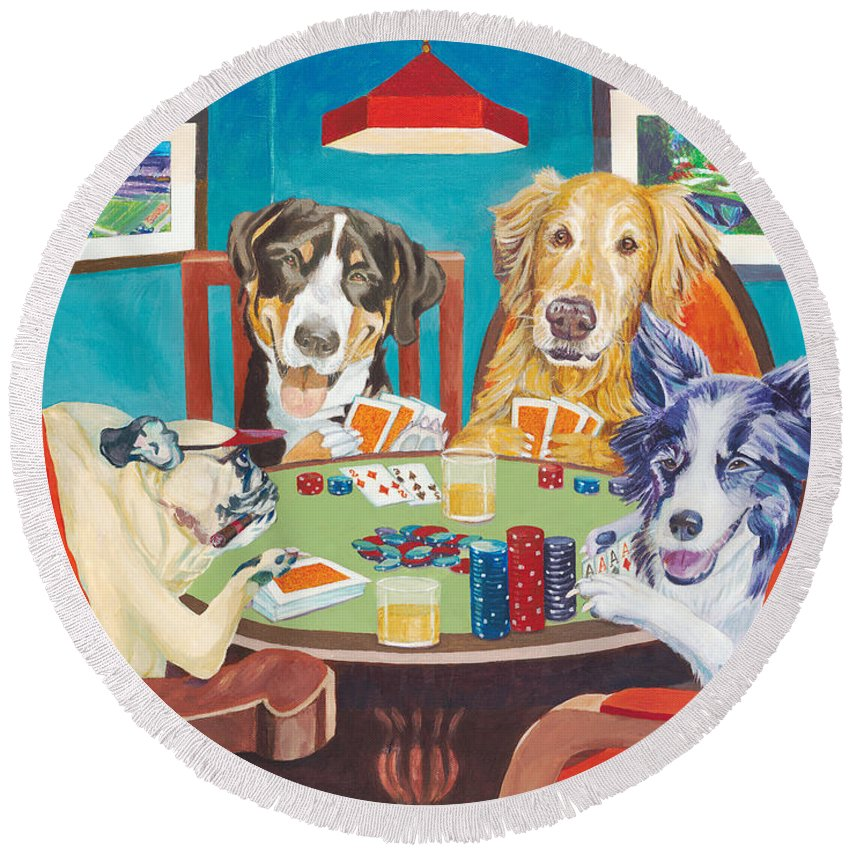 Poker Round Beach Towel featuring the painting Aces Run Wild by Lisa Hershman