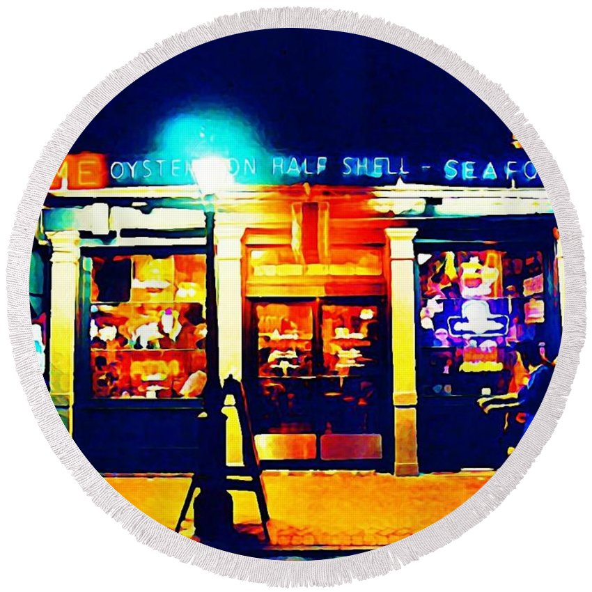 Landscapes Round Beach Towel featuring the digital art Acme Oyster Shop New Orleans by John Malone