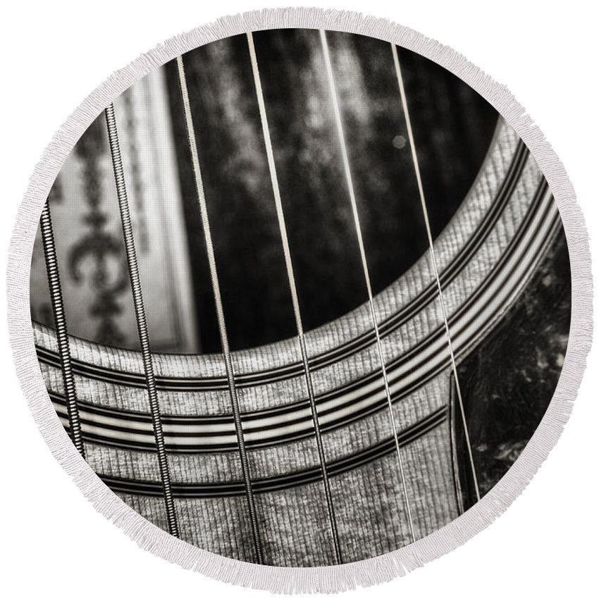 Guitar Round Beach Towel featuring the photograph Acoustically Speaking by Scott Norris