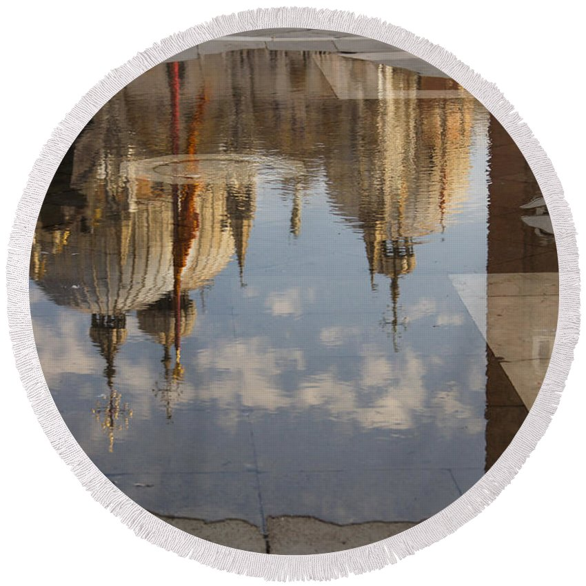 St Marks Cathedral Round Beach Towel featuring the photograph Acqua Alta Or High Water Reflects St Mark's Cathedral In Venice by Georgia Mizuleva