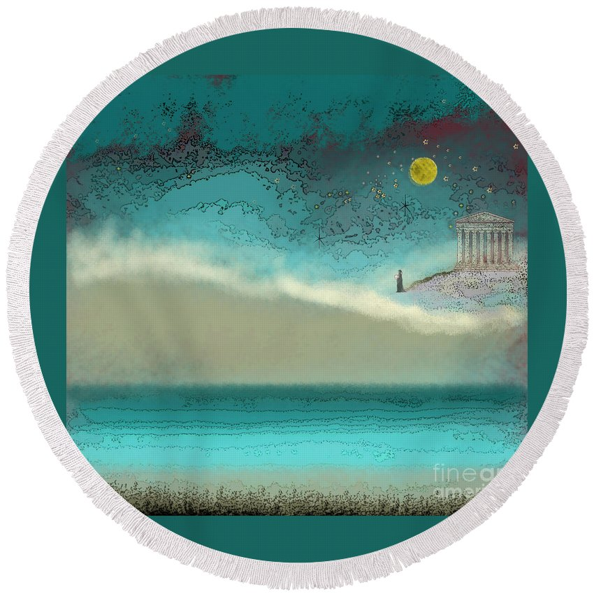 Acropolis Round Beach Towel featuring the digital art Acropolis In Moonlight by Carol Jacobs