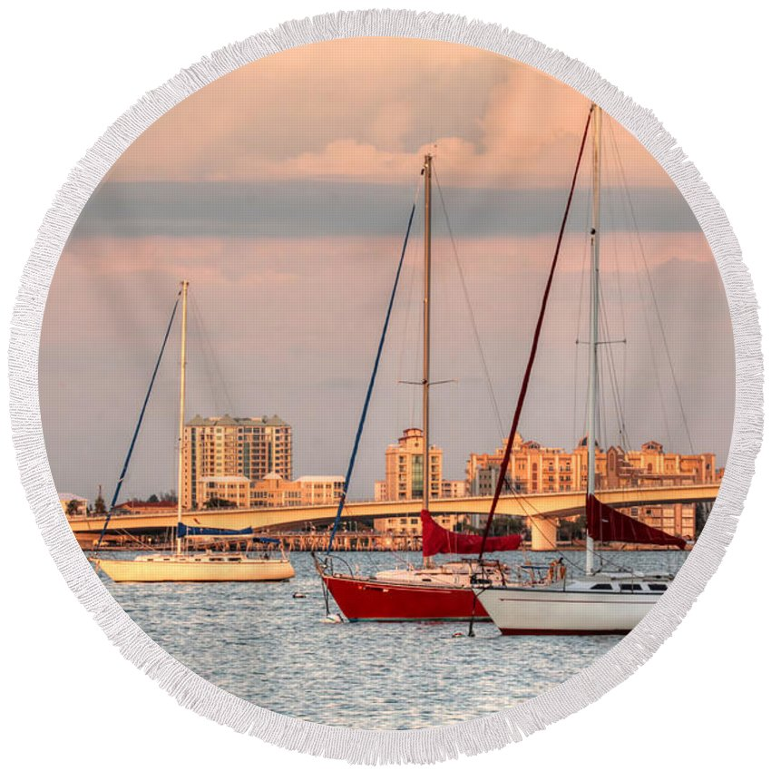Sailboat Round Beach Towel featuring the photograph Across The Bay by HH Photography of Florida