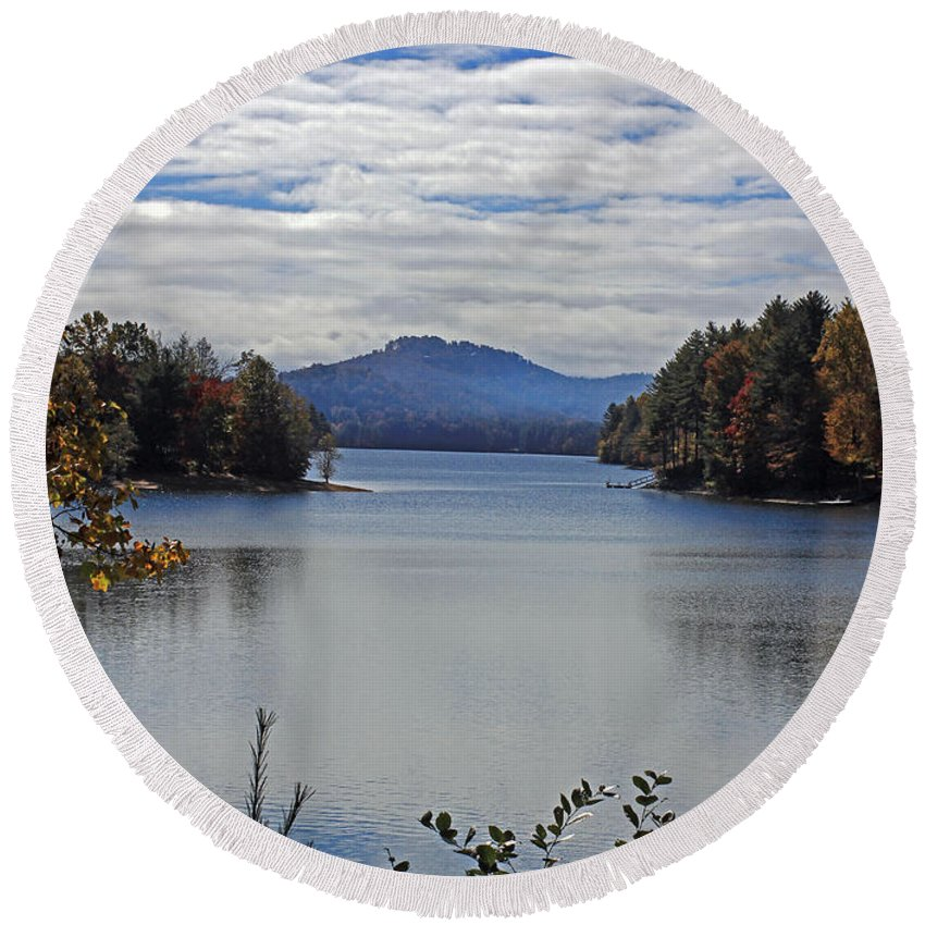 Lake Round Beach Towel featuring the photograph Across The Lake by Jennifer Robin
