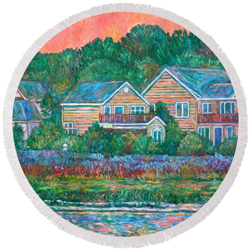 Landscape Round Beach Towel featuring the painting Across The Marsh At Pawleys Island    by Kendall Kessler
