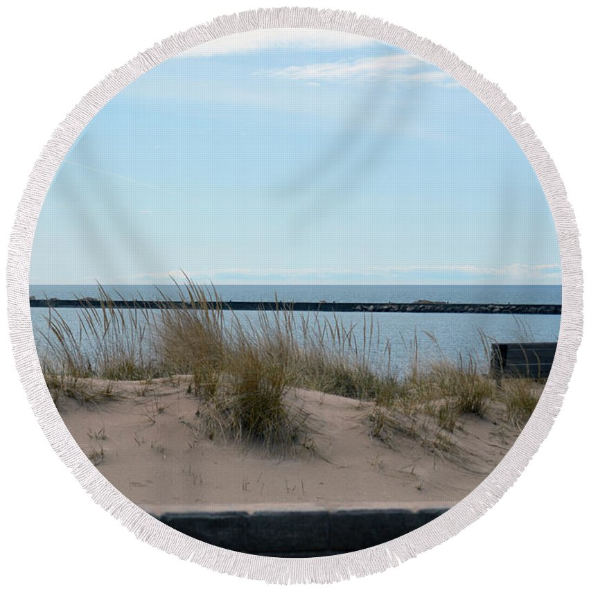 Frankfort Lighthouse Round Beach Towel featuring the photograph Across The Water by Linda Kerkau