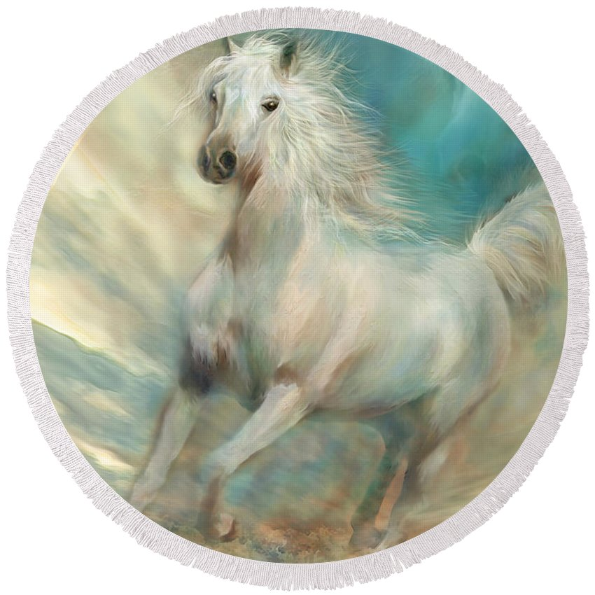 Horse Round Beach Towel featuring the mixed media Across The Windswept Sky by Carol Cavalaris