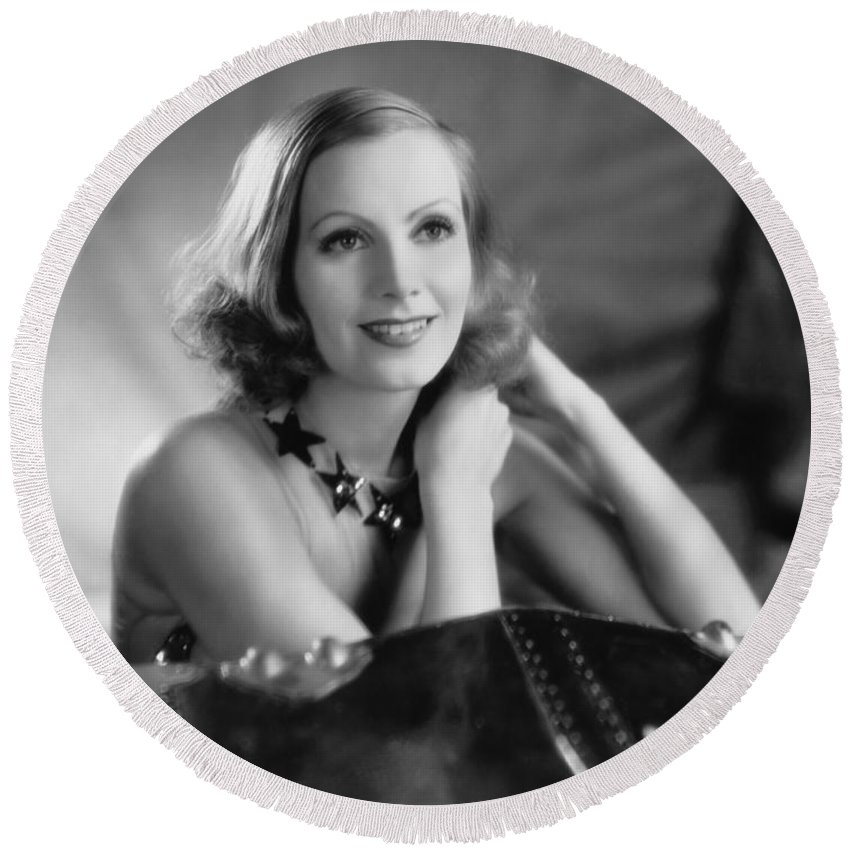 1920's Round Beach Towel featuring the photograph Actress Greta Garbo by Underwood Archives