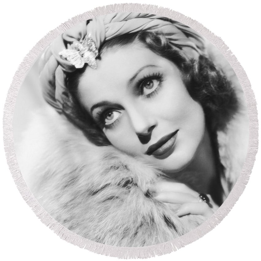 1930s Round Beach Towel featuring the photograph Actress Loretta Young by Underwood Archives