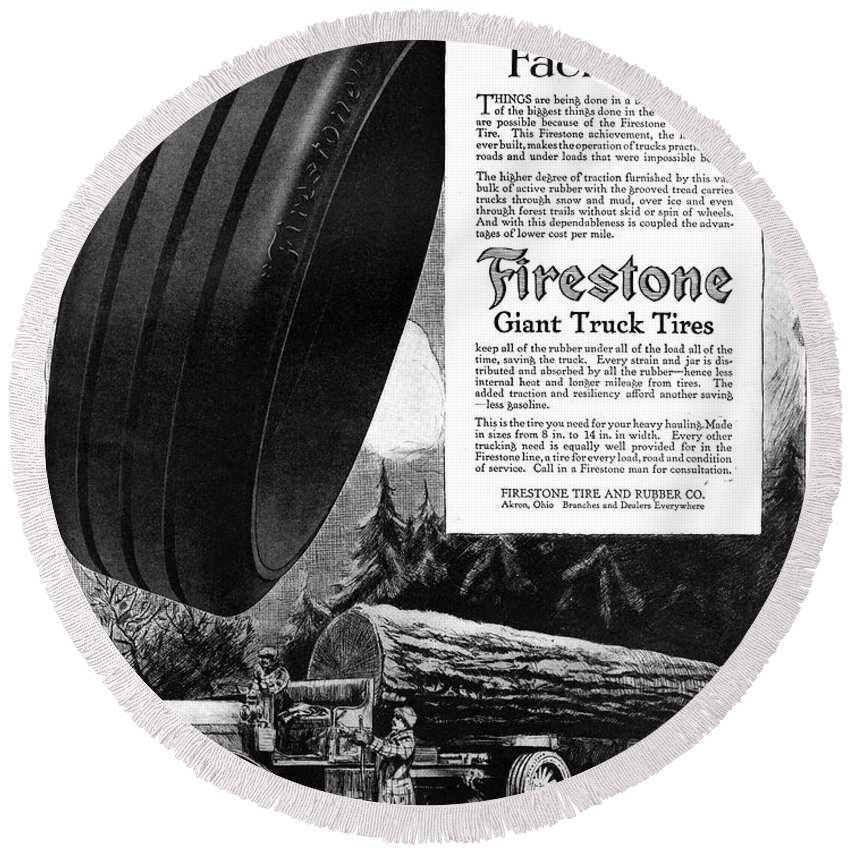 1918 Round Beach Towel featuring the painting Ad Firestone, 1918 by Granger
