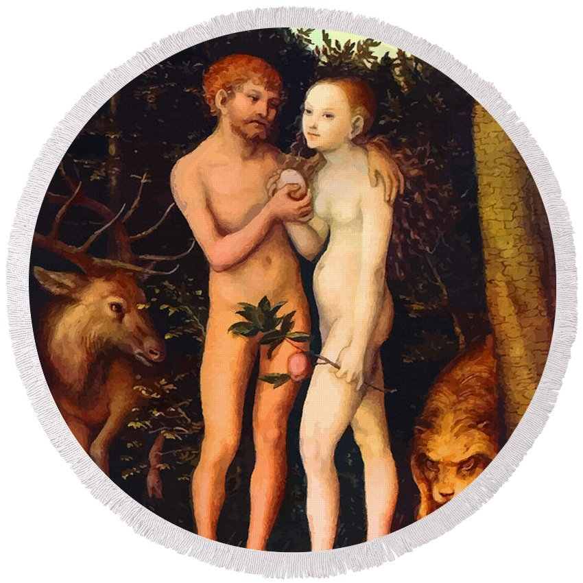 Retouched Round Beach Towel featuring the digital art Adam And Eve - Oil On Canvas by Don Kuing