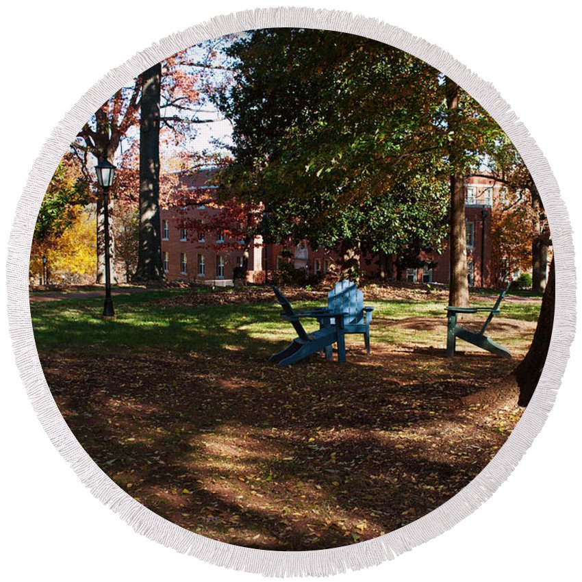 Art Round Beach Towel featuring the photograph Adirondack Chairs 2 - Davidson College by Paulette B Wright