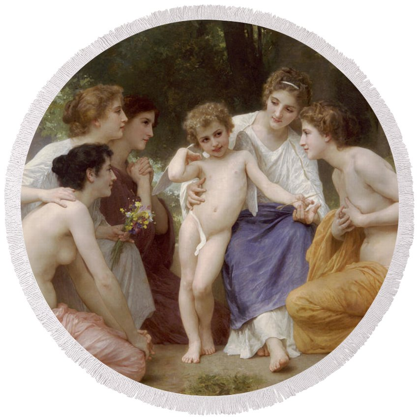 William-adolphe Bouguereau Round Beach Towel featuring the painting Admiration by William-Adolphe Bouguereau