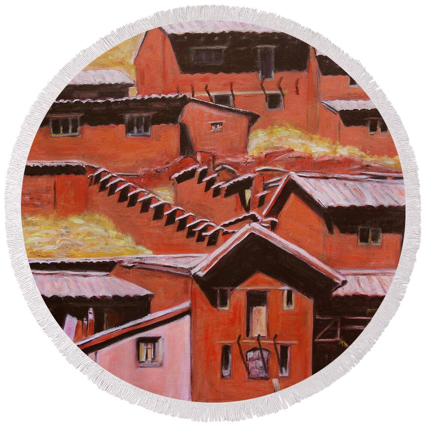 Landscape Round Beach Towel featuring the painting Adobe Village - Peru Impression II by Xueling Zou