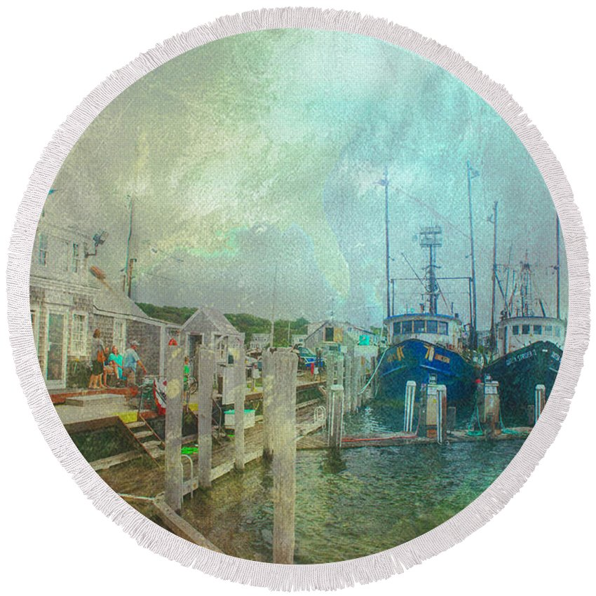 Cape Cod Capecod Boat Ship Fishing Fisherman Fishermen Marthas Vineyard Marthasvineyard Menemsha Chilmark Summer Vacation Holiday Weekend Ocean Sea Harbor Mooring Water Adventure Scene Scenic Map Globe Chart Atlantic Massachusetts Ma Round Beach Towel featuring the digital art Adventurers by William Sargent