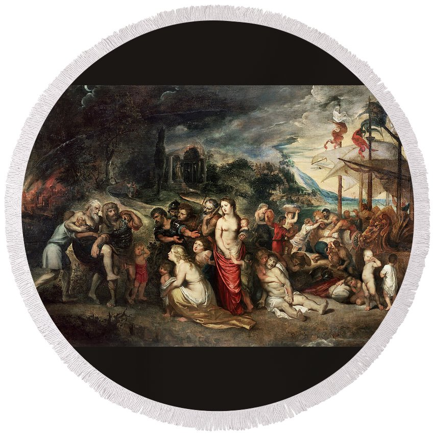 Peter Paul Rubens Round Beach Towel featuring the painting Aeneas And His Family Departing From Troy by Peter Paul Rubens