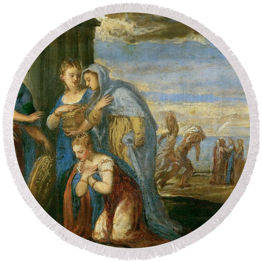 Andrea Schiavone Round Beach Towel featuring the painting Aeneas Taking Leave Of Dido by Andrea Schiavone