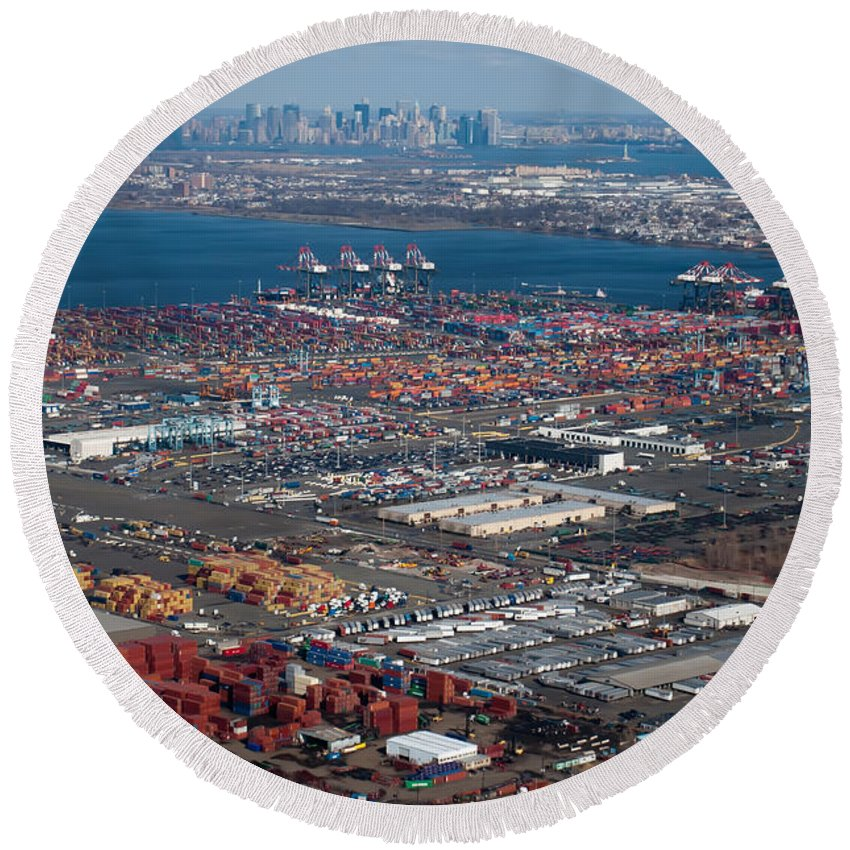 Crowded Round Beach Towel featuring the photograph Aerial Over Newark And New Yourk by Alex Grichenko