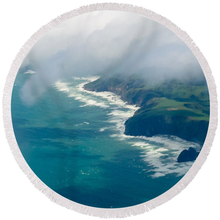 Tasman Sea Round Beach Towel featuring the photograph Aerial View Of Tasman Sea Shore Nz North Island by Stephan Pietzko