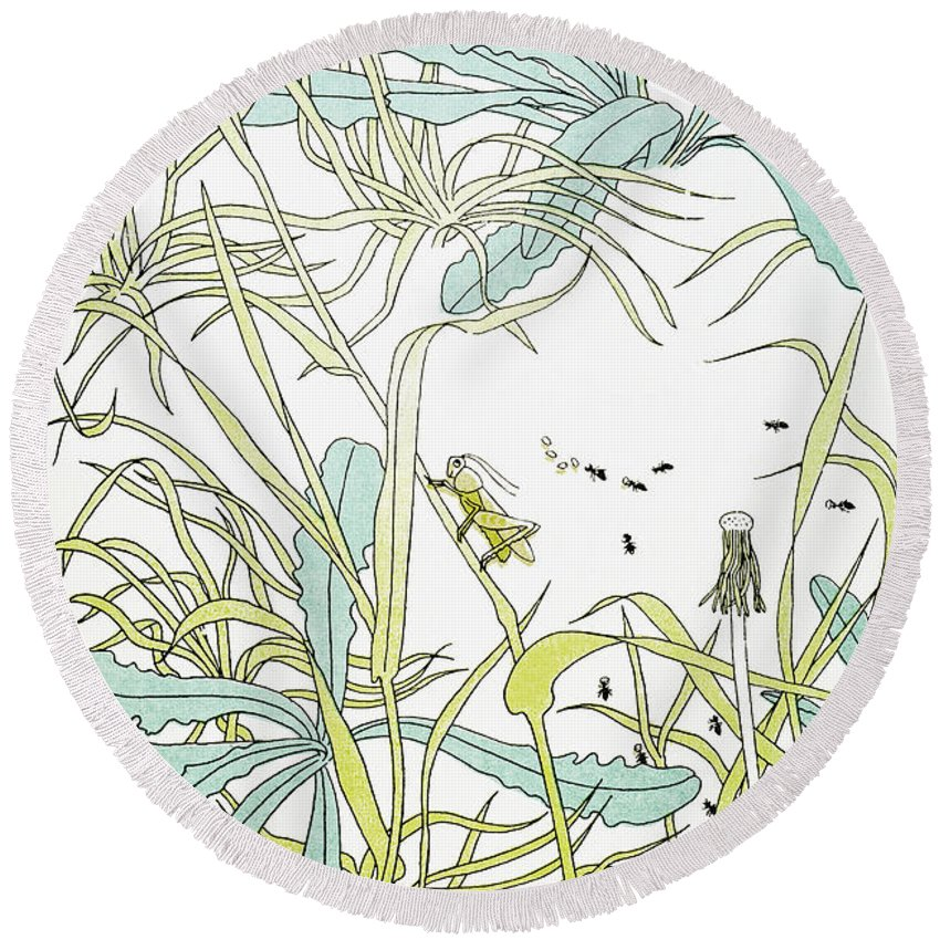 Aesop Round Beach Towel featuring the photograph Aesop: Ant & Grasshopper by Granger