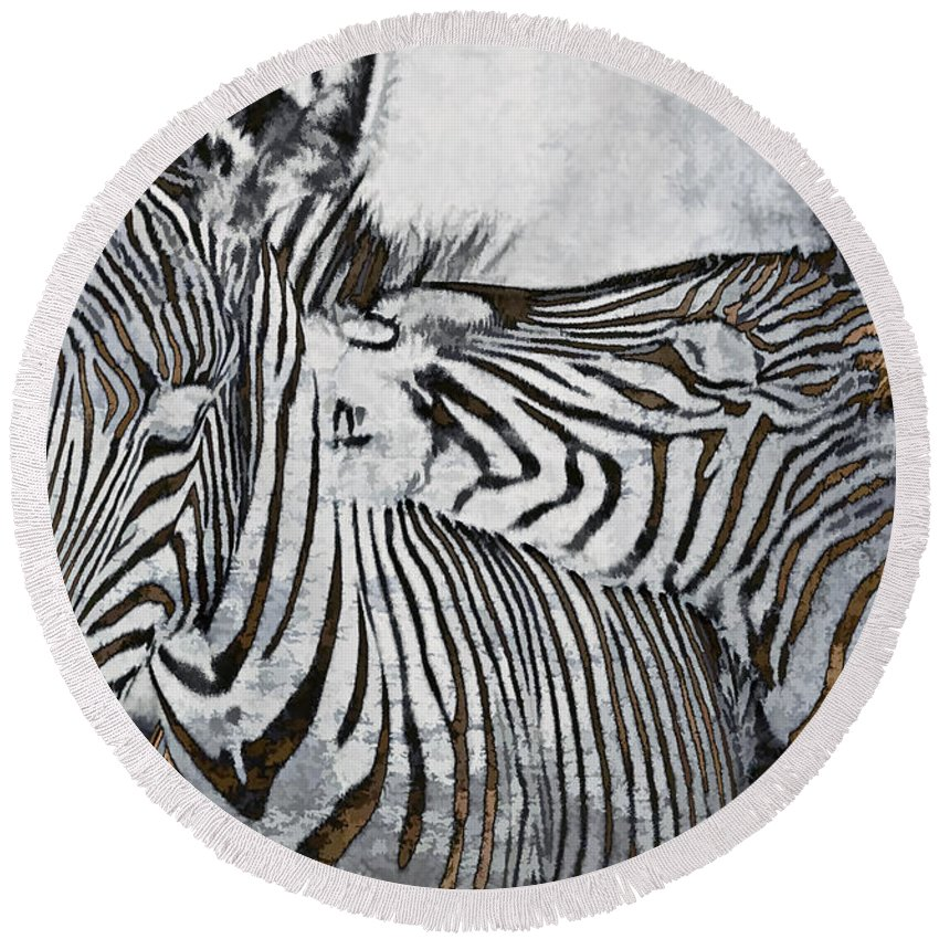 Animal Round Beach Towel featuring the photograph Affection by Marcia Colelli
