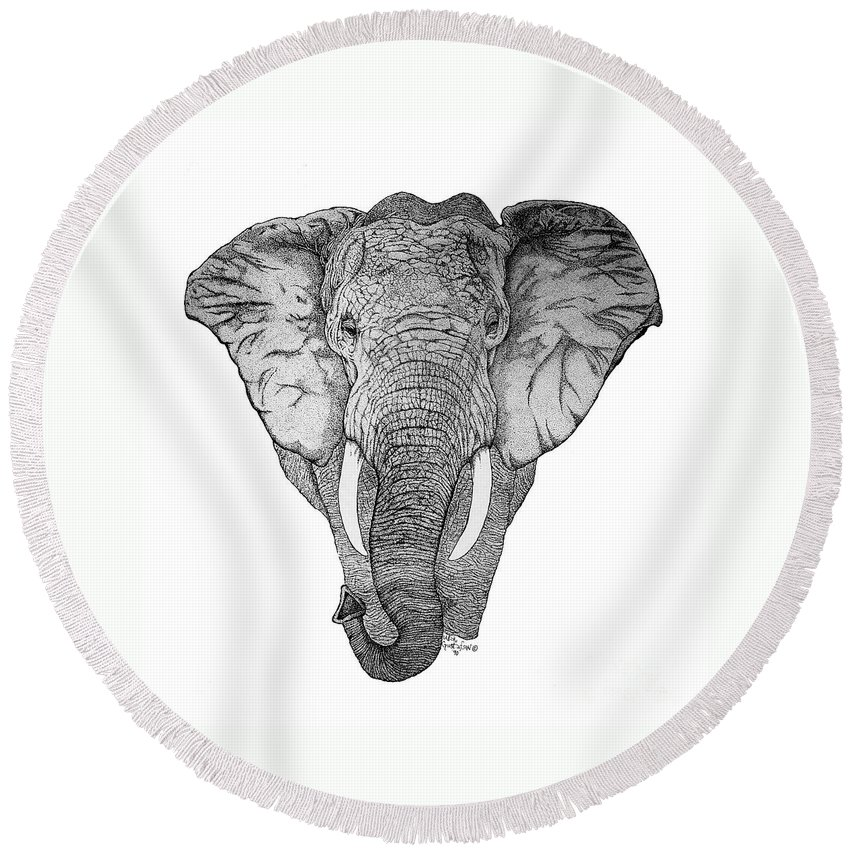 Elephant Round Beach Towel featuring the drawing African Elephant by Nick Gustafson